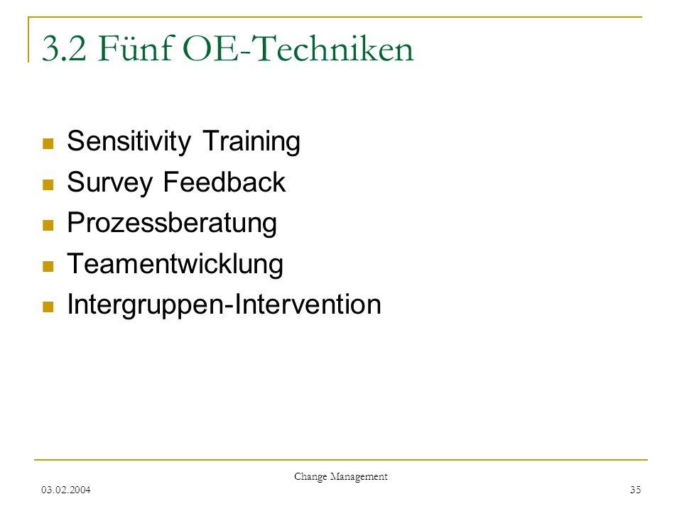 03.02.2004 Change Management 35 3.2 Fünf OE-Techniken Sensitivity Training Survey Feedback Prozessberatung Teamentwicklung Intergruppen-Intervention