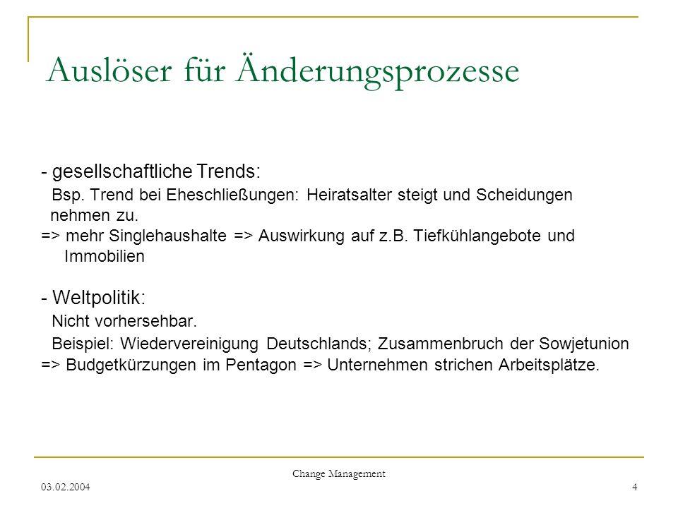 03.02.2004 Change Management 4 Auslöser für Änderungsprozesse - gesellschaftliche Trends: Bsp. Trend bei Eheschließungen: Heiratsalter steigt und Sche