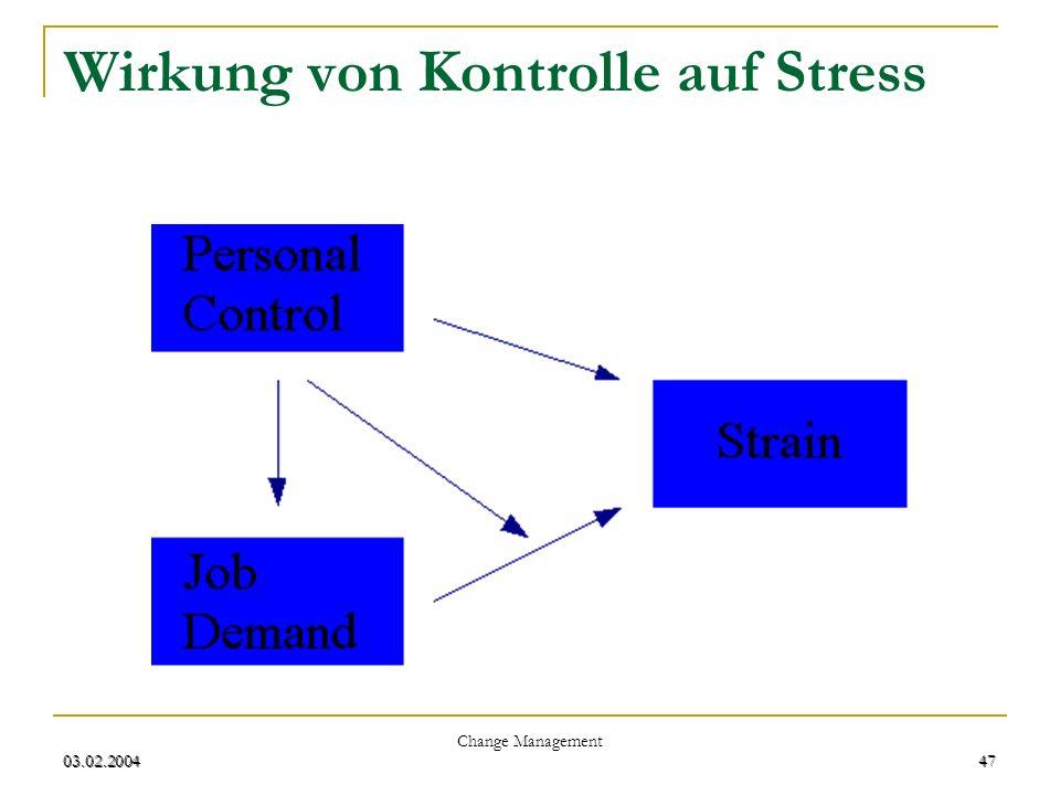 03.02.2004 Change Management 47 03.02.200447 Wirkung von Kontrolle auf Stress