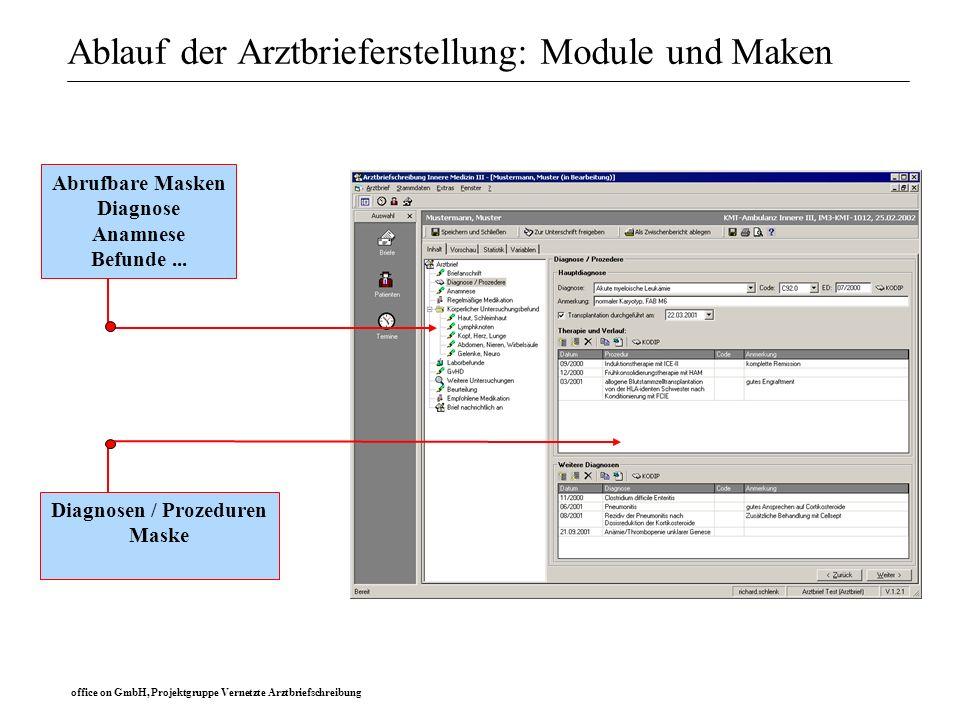 office on GmbH, Projektgruppe Vernetzte Arztbriefschreibung Ablauf der Arztbrieferstellung: Module und Maken Abrufbare Masken Diagnose Anamnese Befund