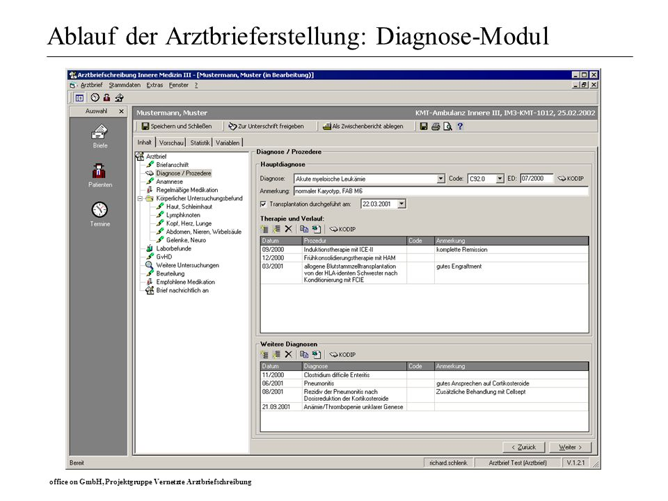office on GmbH, Projektgruppe Vernetzte Arztbriefschreibung Ablauf der Arztbrieferstellung: Diagnose-Modul