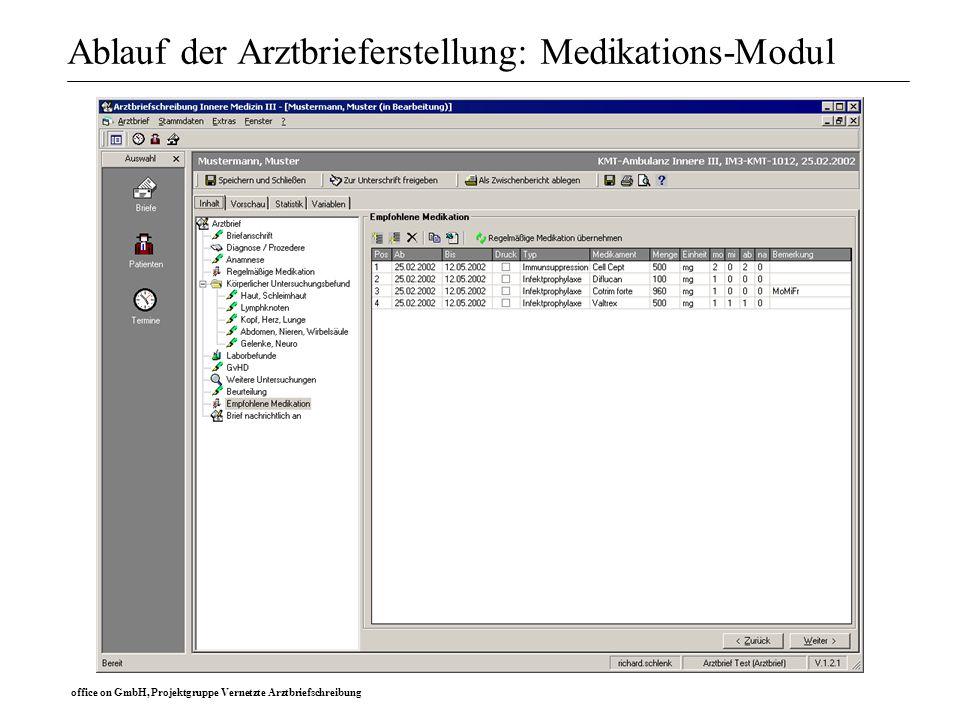 office on GmbH, Projektgruppe Vernetzte Arztbriefschreibung Ablauf der Arztbrieferstellung: Medikations-Modul