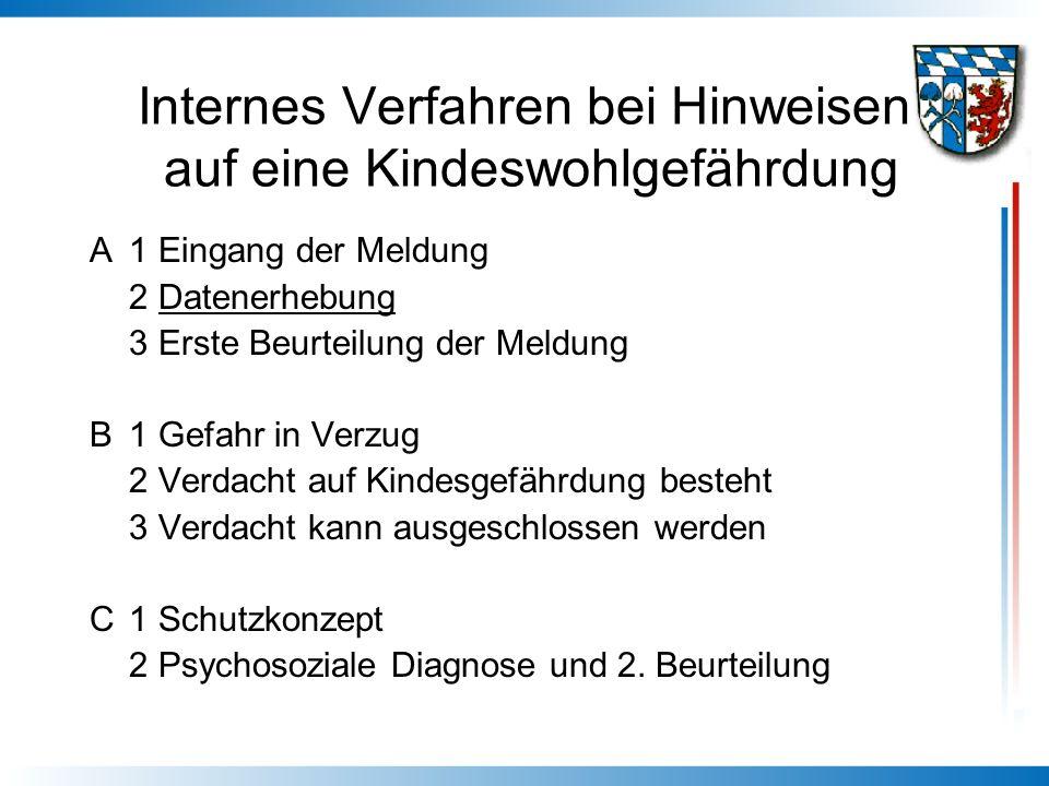 Internes Verfahren bei Hinweisen auf eine Kindeswohlgefährdung A1 Eingang der Meldung 2 Datenerhebung 3 Erste Beurteilung der Meldung B1 Gefahr in Ver