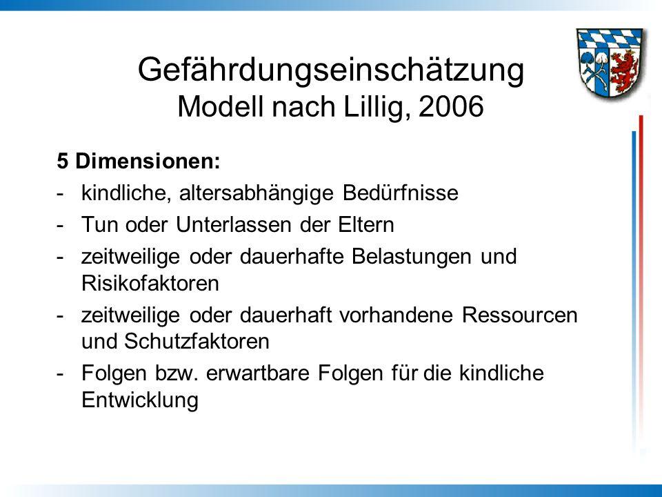 Gefährdungseinschätzung Modell nach Lillig, 2006 5 Dimensionen: -kindliche, altersabhängige Bedürfnisse -Tun oder Unterlassen der Eltern -zeitweilige