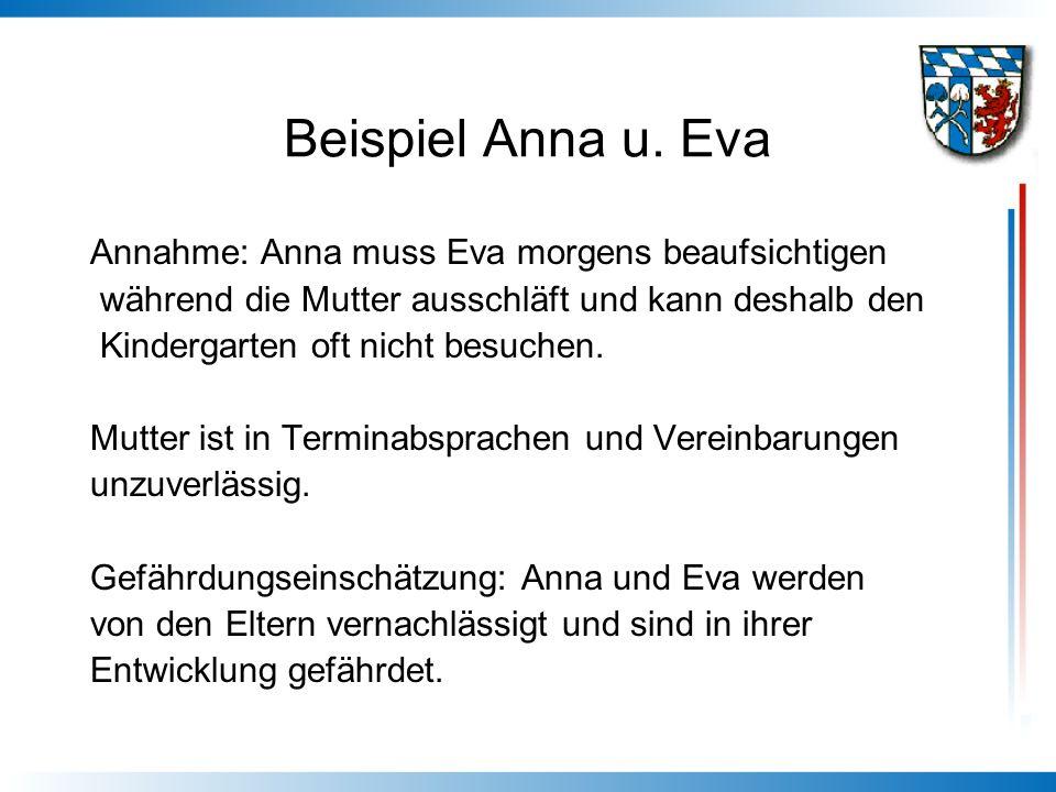 Beispiel Anna u. Eva Annahme: Anna muss Eva morgens beaufsichtigen während die Mutter ausschläft und kann deshalb den Kindergarten oft nicht besuchen.
