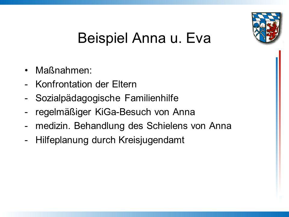Beispiel Anna u. Eva Maßnahmen: -Konfrontation der Eltern -Sozialpädagogische Familienhilfe -regelmäßiger KiGa-Besuch von Anna -medizin. Behandlung de