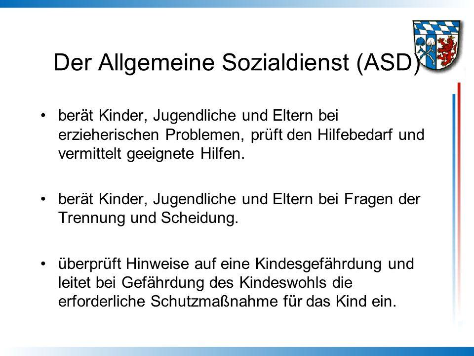 Der Allgemeine Sozialdienst (ASD) berät Kinder, Jugendliche und Eltern bei erzieherischen Problemen, prüft den Hilfebedarf und vermittelt geeignete Hi