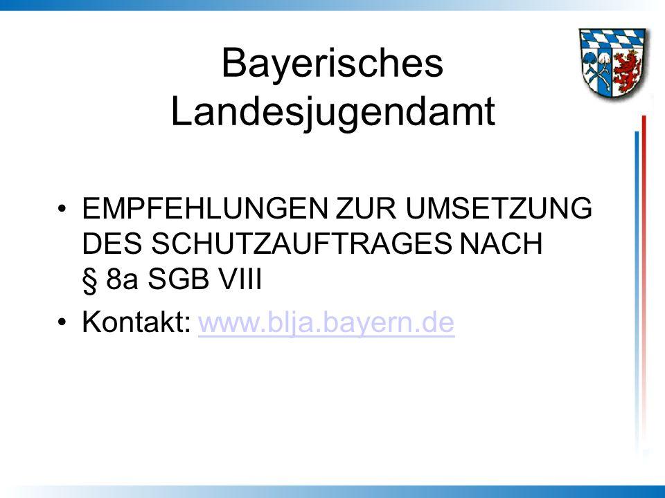 Bayerisches Landesjugendamt EMPFEHLUNGEN ZUR UMSETZUNG DES SCHUTZAUFTRAGES NACH § 8a SGB VIII Kontakt: www.blja.bayern.dewww.blja.bayern.de