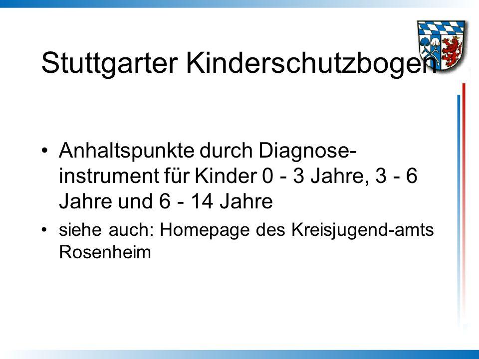 Stuttgarter Kinderschutzbogen Anhaltspunkte durch Diagnose- instrument für Kinder 0 - 3 Jahre, 3 - 6 Jahre und 6 - 14 Jahre siehe auch: Homepage des K
