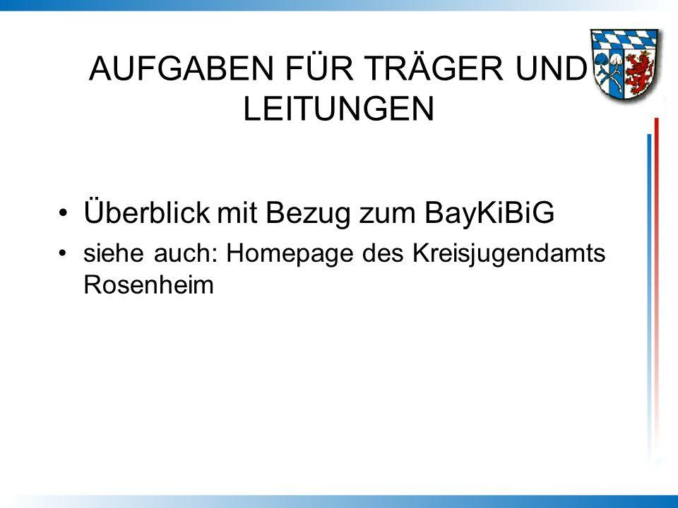 AUFGABEN FÜR TRÄGER UND LEITUNGEN Überblick mit Bezug zum BayKiBiG siehe auch: Homepage des Kreisjugendamts Rosenheim