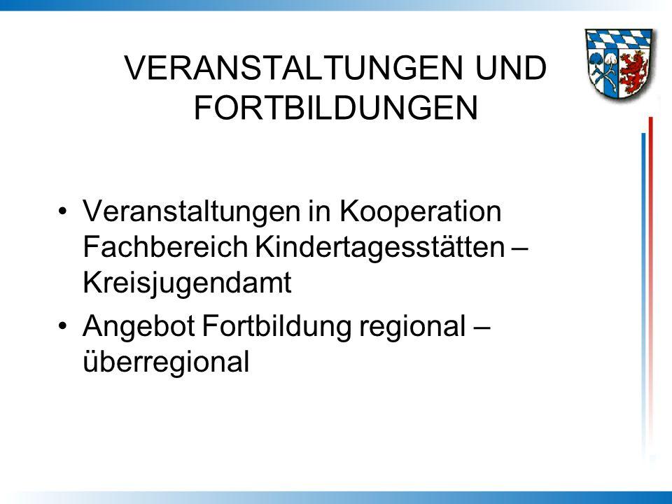 VERANSTALTUNGEN UND FORTBILDUNGEN Veranstaltungen in Kooperation Fachbereich Kindertagesstätten – Kreisjugendamt Angebot Fortbildung regional – überre