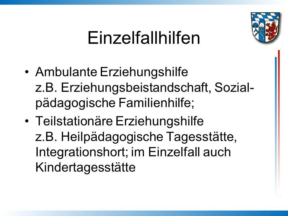 Einzelfallhilfen Ambulante Erziehungshilfe z.B. Erziehungsbeistandschaft, Sozial- pädagogische Familienhilfe; Teilstationäre Erziehungshilfe z.B. Heil