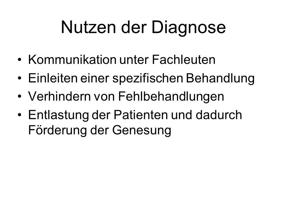 Nutzen der Diagnose Kommunikation unter Fachleuten Einleiten einer spezifischen Behandlung Verhindern von Fehlbehandlungen Entlastung der Patienten und dadurch Förderung der Genesung