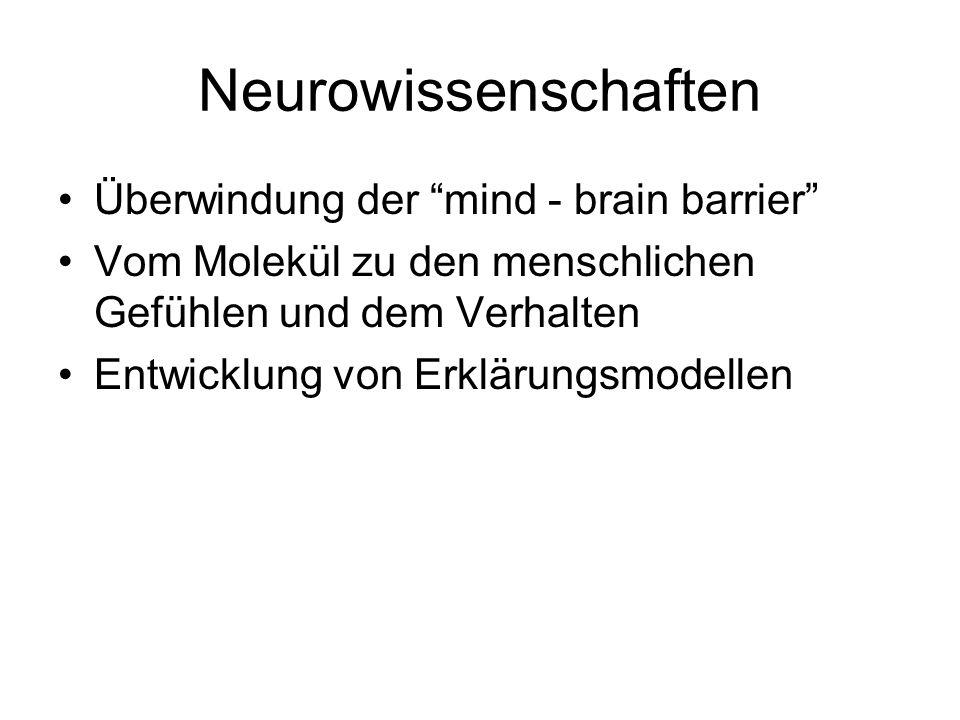 Neurowissenschaften Überwindung der mind - brain barrier Vom Molekül zu den menschlichen Gefühlen und dem Verhalten Entwicklung von Erklärungsmodellen