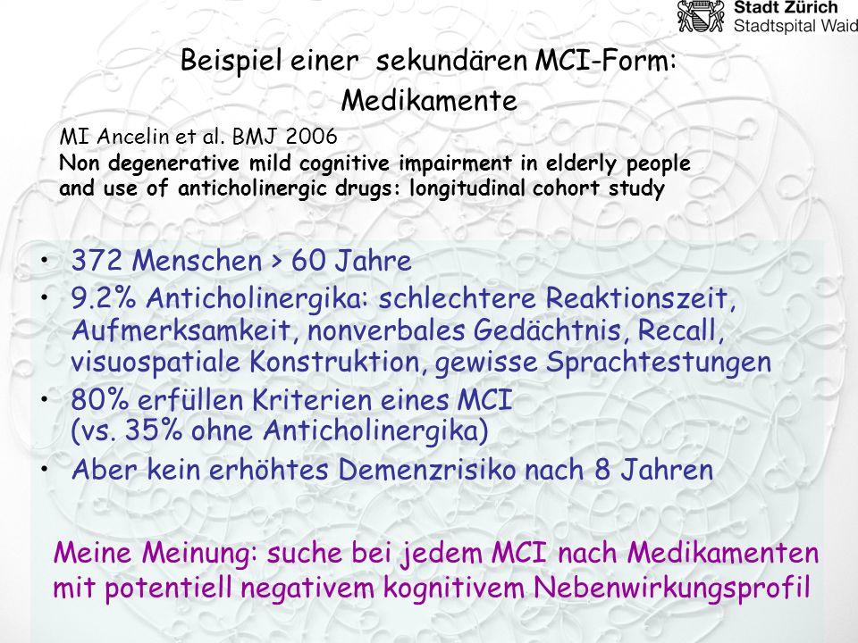 MCI und Depression 2220 Teilnehmer > 65 Jahre Depressive Symptome mit MCI assoziiert Vaskuläre Hirnerkrankung mit MCI assoziiert Obwohl Depression oft Ausdruck einer vaskulären Hirnerkankung ist, ist Depression unabhängig von vaskulärer Erkrankung mit MCI assoziiert.