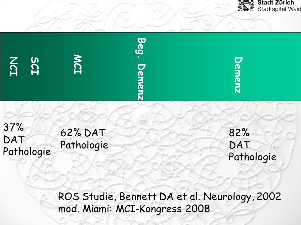 NCI MCI Beg. Demenz Demenz 62% DAT Pathologie 37% DAT Pathologie 82% DAT Pathologie ROS Studie, Bennett DA et al. Neurology, 2002 mod. Miami: MCI-Kong