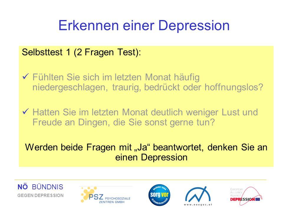 NÖ BÜNDNIS GEGEN DEPRESSION Erkennen einer Depression Selbsttest 1 (2 Fragen Test): Fühlten Sie sich im letzten Monat häufig niedergeschlagen, traurig