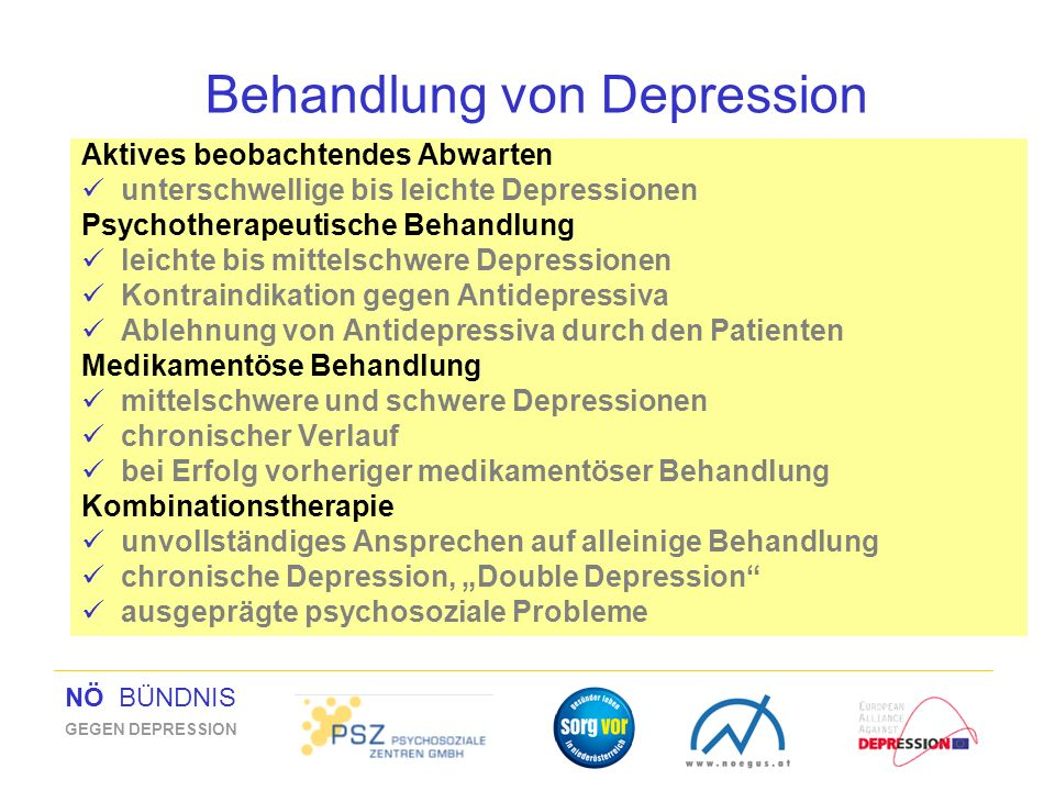 NÖ BÜNDNIS GEGEN DEPRESSION Behandlung von Depression Aktives beobachtendes Abwarten unterschwellige bis leichte Depressionen Psychotherapeutische Beh