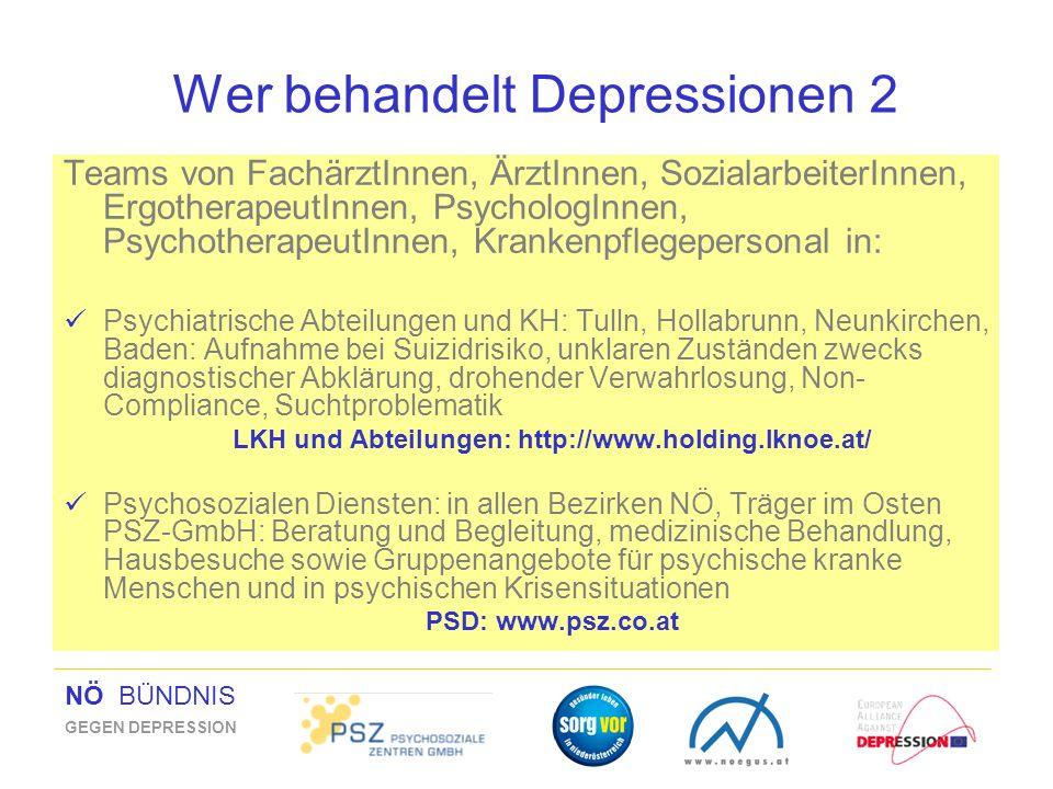 NÖ BÜNDNIS GEGEN DEPRESSION Wer behandelt Depressionen 2 Teams von FachärztInnen, ÄrztInnen, SozialarbeiterInnen, ErgotherapeutInnen, PsychologInnen,