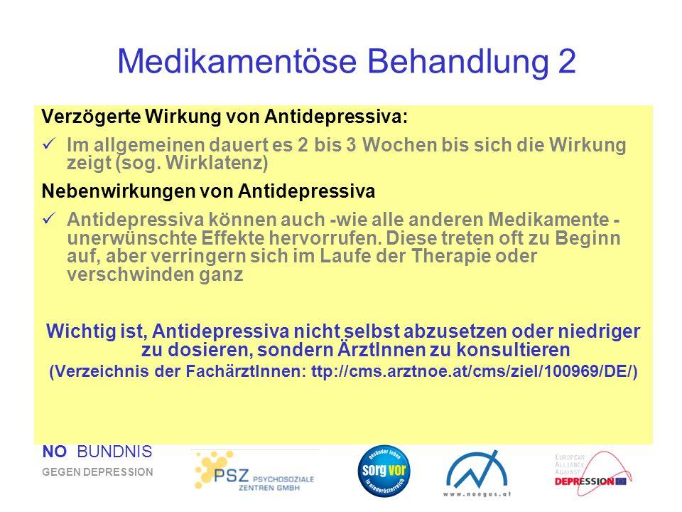 NÖ BÜNDNIS GEGEN DEPRESSION Medikamentöse Behandlung 2 Verzögerte Wirkung von Antidepressiva: Im allgemeinen dauert es 2 bis 3 Wochen bis sich die Wir