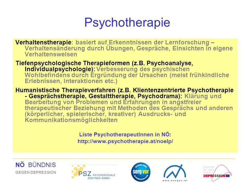 NÖ BÜNDNIS GEGEN DEPRESSION Psychotherapie Verhaltenstherapie: basiert auf Erkenntnissen der Lernforschung – Verhaltensänderung durch Übungen, Gespräc