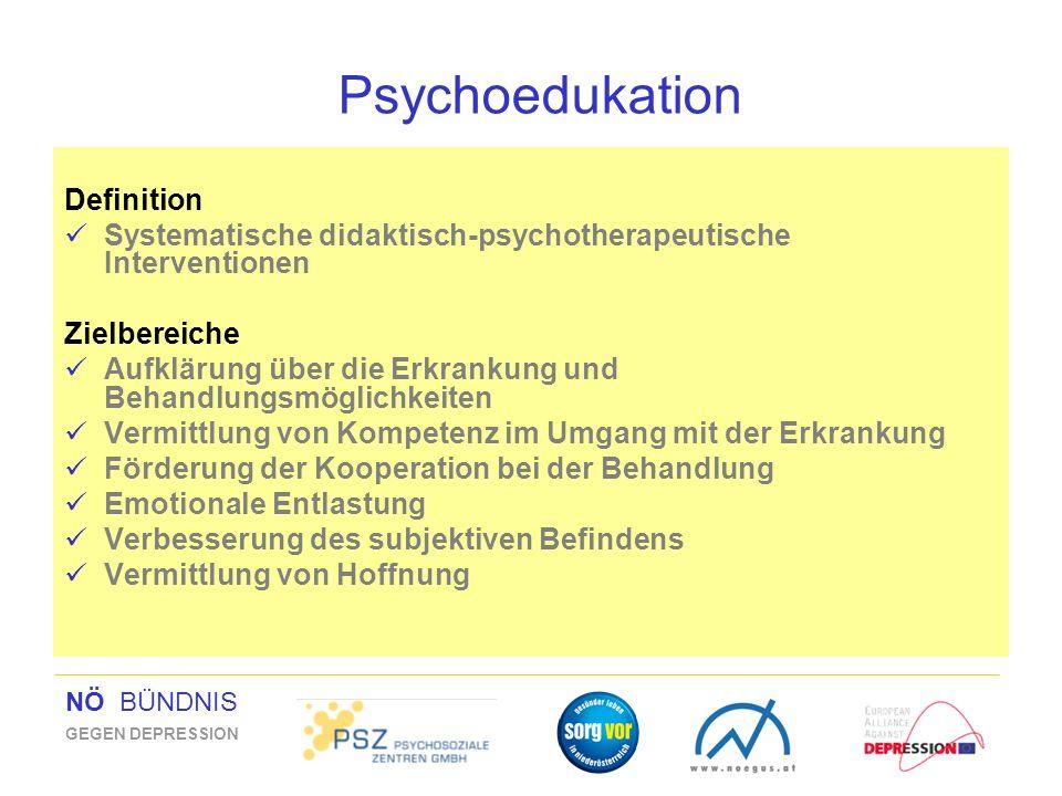 NÖ BÜNDNIS GEGEN DEPRESSION Psychoedukation Definition Systematische didaktisch-psychotherapeutische Interventionen Zielbereiche Aufklärung über die E
