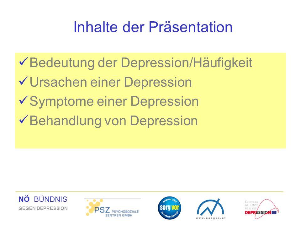 NÖ BÜNDNIS GEGEN DEPRESSION Inhalte der Präsentation Bedeutung der Depression/Häufigkeit Ursachen einer Depression Symptome einer Depression Behandlun
