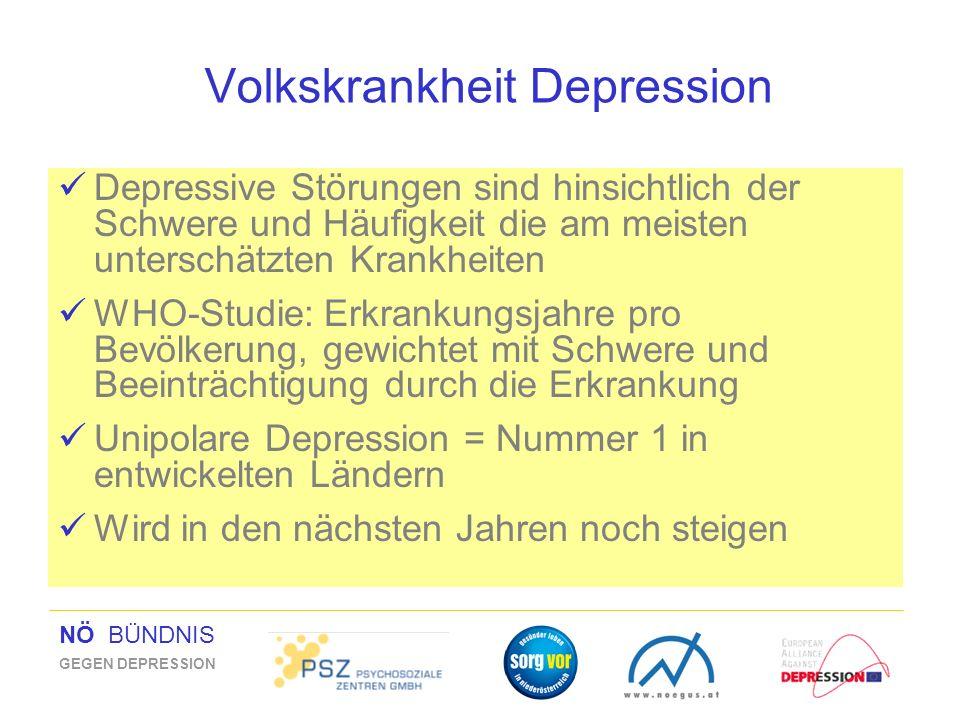 NÖ BÜNDNIS GEGEN DEPRESSION Volkskrankheit Depression Depressive Störungen sind hinsichtlich der Schwere und Häufigkeit die am meisten unterschätzten