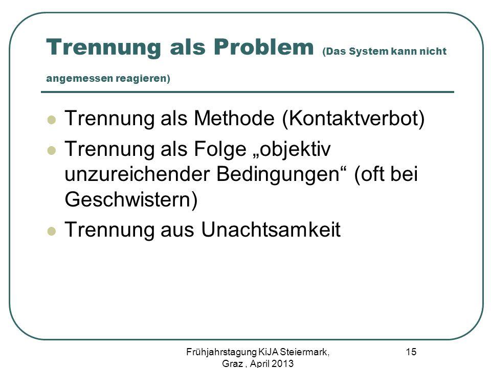 Trennung als Problem (Das System kann nicht angemessen reagieren) Trennung als Methode (Kontaktverbot) Trennung als Folge objektiv unzureichender Bedi