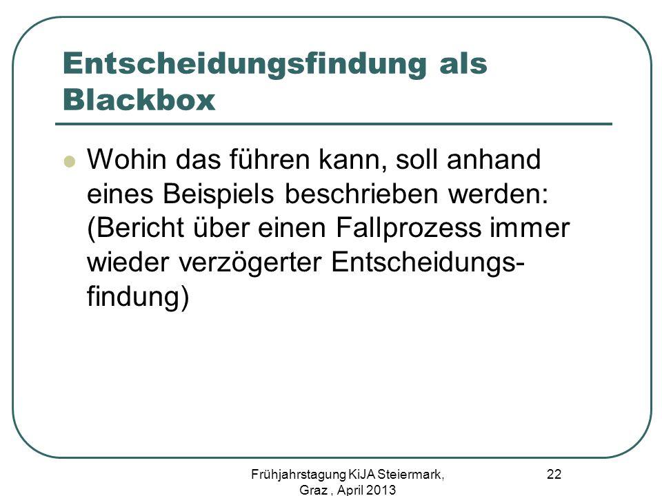 Entscheidungsfindung als Blackbox Wohin das führen kann, soll anhand eines Beispiels beschrieben werden: (Bericht über einen Fallprozess immer wieder
