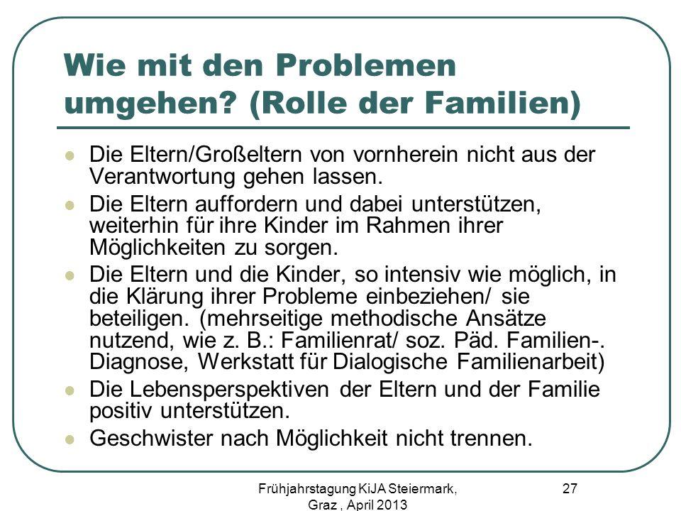Wie mit den Problemen umgehen? (Rolle der Familien) Die Eltern/Großeltern von vornherein nicht aus der Verantwortung gehen lassen. Die Eltern aufforde