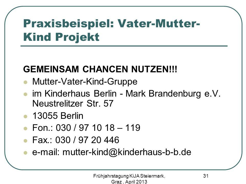 Praxisbeispiel: Vater-Mutter- Kind Projekt GEMEINSAM CHANCEN NUTZEN!!! Mutter-Vater-Kind-Gruppe im Kinderhaus Berlin - Mark Brandenburg e.V. Neustreli