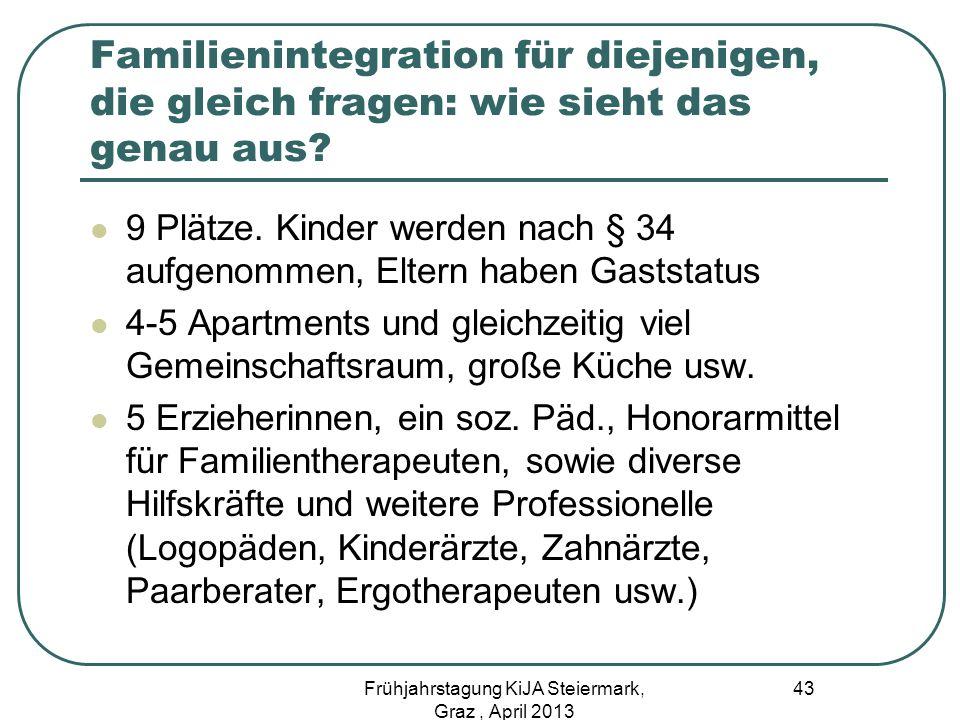 Familienintegration für diejenigen, die gleich fragen: wie sieht das genau aus? 9 Plätze. Kinder werden nach § 34 aufgenommen, Eltern haben Gaststatus