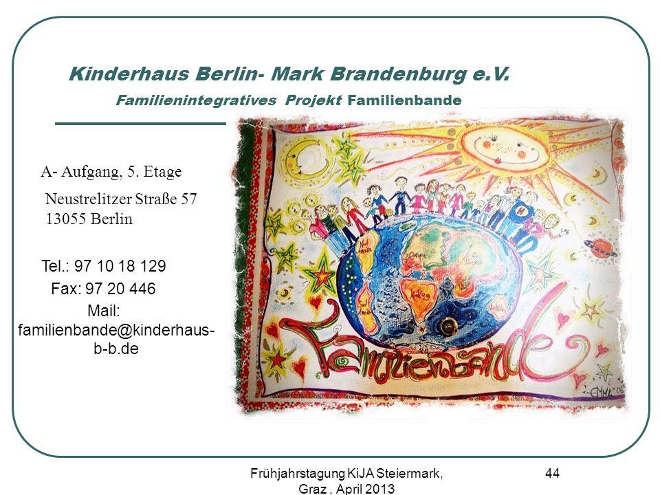 Kinderhaus Berlin- Mark Brandenburg e.V. Familienintegratives Projekt Familienbande A- Aufgang, 5. Etage Neustrelitzer Straße 57 13055 Berlin Tel.: 97