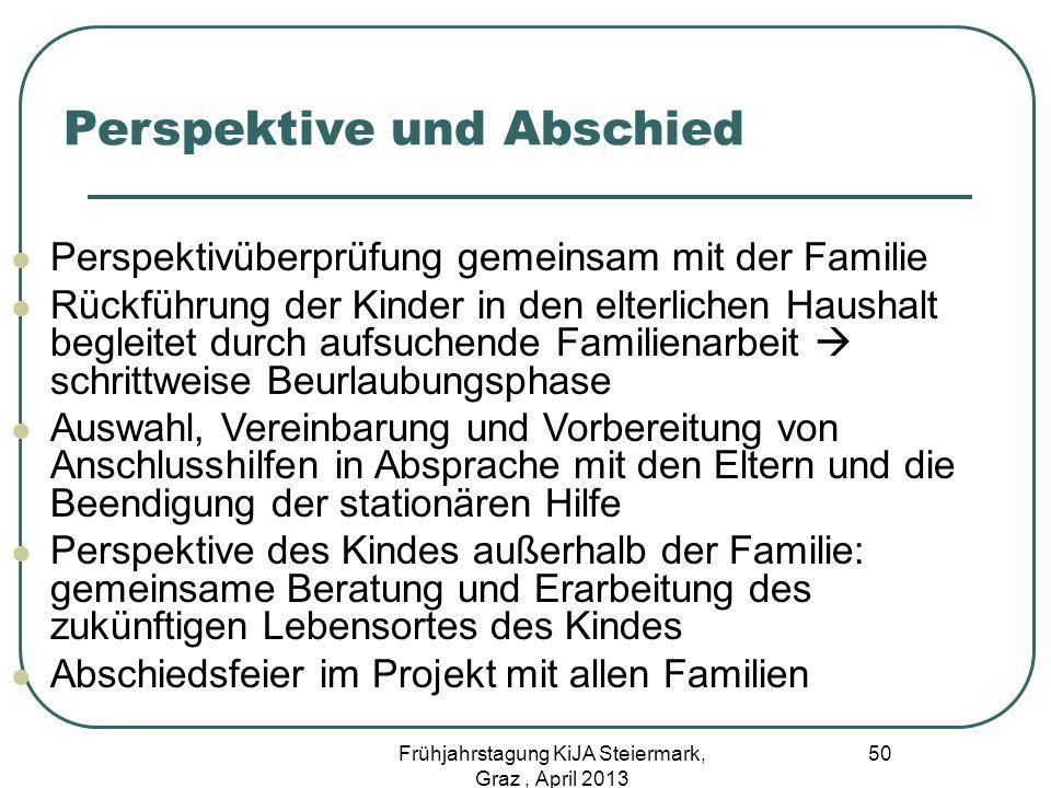 Perspektive und Abschied Perspektivüberprüfung gemeinsam mit der Familie Rückführung der Kinder in den elterlichen Haushalt begleitet durch aufsuchend