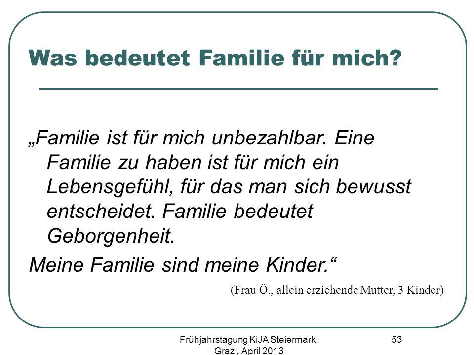 Was bedeutet Familie für mich? Familie ist für mich unbezahlbar. Eine Familie zu haben ist für mich ein Lebensgefühl, für das man sich bewusst entsche