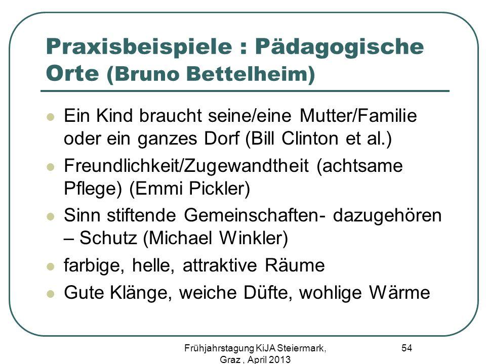 Praxisbeispiele : Pädagogische Orte (Bruno Bettelheim) Ein Kind braucht seine/eine Mutter/Familie oder ein ganzes Dorf (Bill Clinton et al.) Freundlic