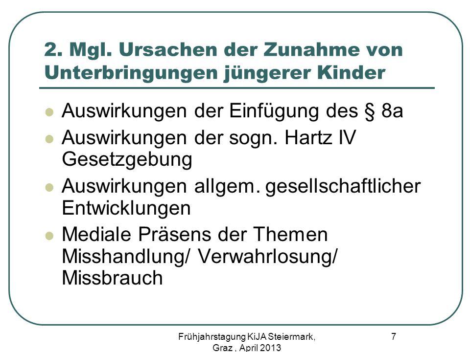 2. Mgl. Ursachen der Zunahme von Unterbringungen jüngerer Kinder Auswirkungen der Einfügung des § 8a Auswirkungen der sogn. Hartz IV Gesetzgebung Ausw
