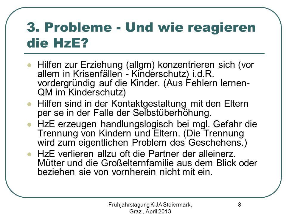3. Probleme - Und wie reagieren die HzE? Hilfen zur Erziehung (allgm) konzentrieren sich (vor allem in Krisenfällen - Kinderschutz) i.d.R. vordergründ
