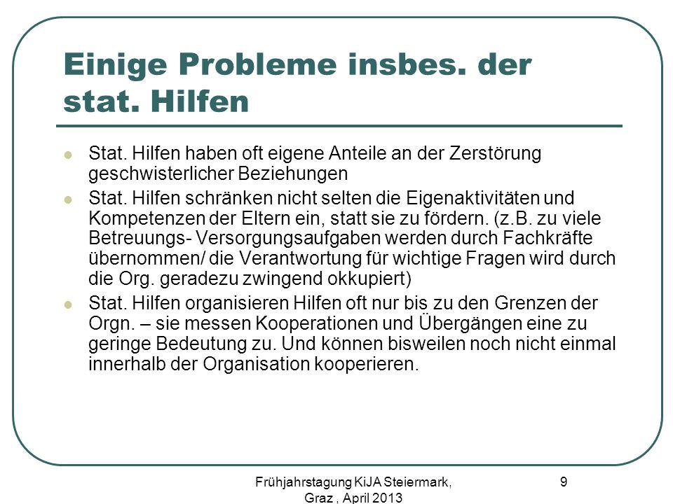 Trennung als Problem Gahleitner spricht in diesem Zusammen von einem professionell erzeugten Trennungstrauma (2011, Vortrag) 20 Frühjahrstagung KiJA Steiermark, Graz, April 2013