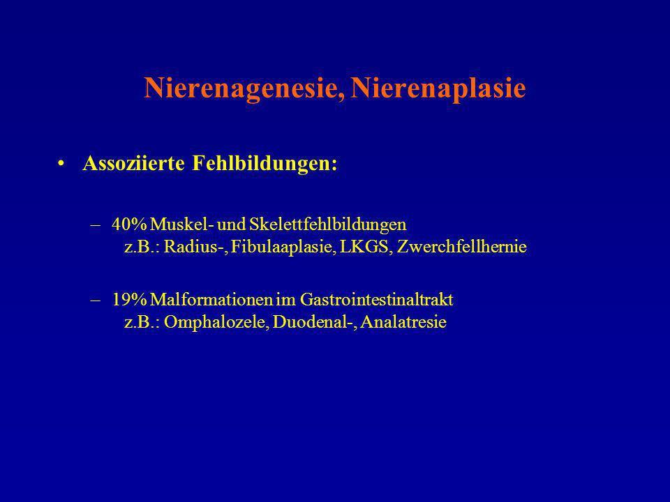 Nierenagenesie, Nierenaplasie Assoziierte Fehlbildungen: –40% Muskel- und Skelettfehlbildungen z.B.: Radius-, Fibulaaplasie, LKGS, Zwerchfellhernie –1