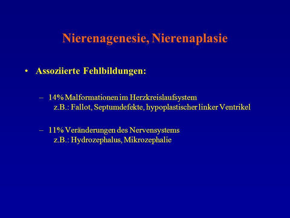 Nierenagenesie, Nierenaplasie Assoziierte Fehlbildungen: –14% Malformationen im Herzkreislaufsystem z.B.: Fallot, Septumdefekte, hypoplastischer linke