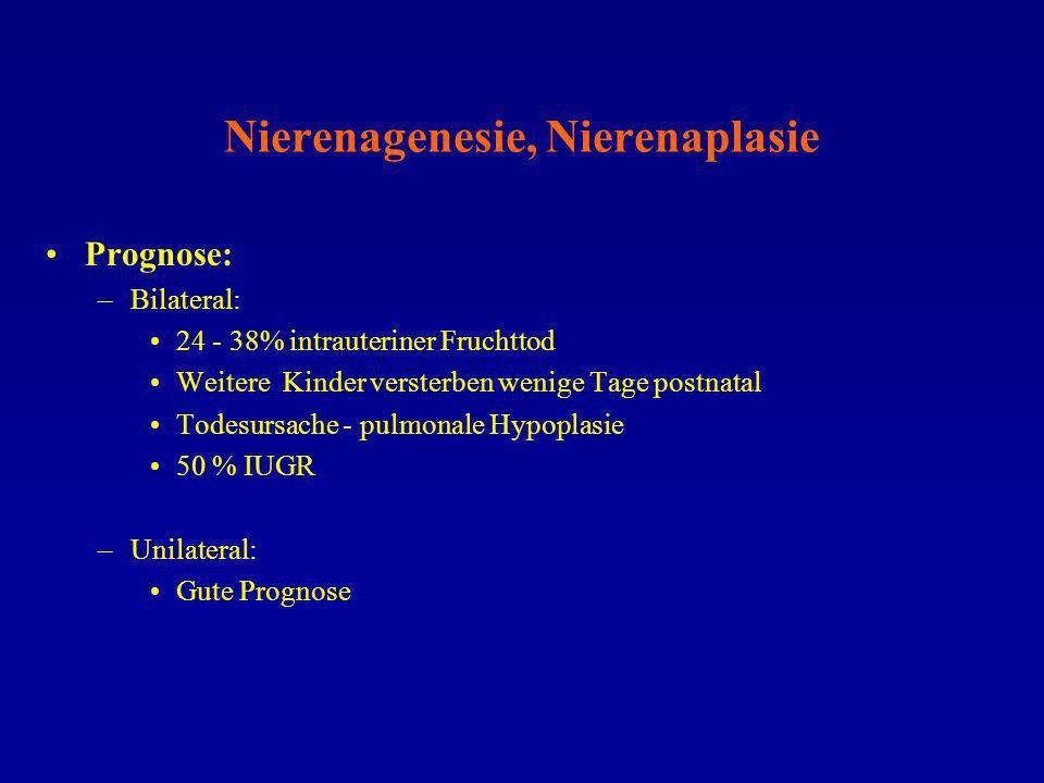 Nierenagenesie, Nierenaplasie Prognose: –Bilateral: 24 - 38% intrauteriner Fruchttod Weitere Kinder versterben wenige Tage postnatal Todesursache - pu