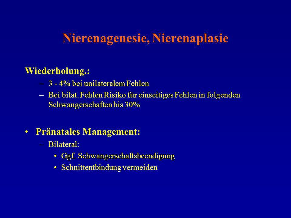 Nierenagenesie, Nierenaplasie Wiederholung.: –3 - 4% bei unilateralem Fehlen –Bei bilat. Fehlen Risiko für einseitiges Fehlen in folgenden Schwangersc