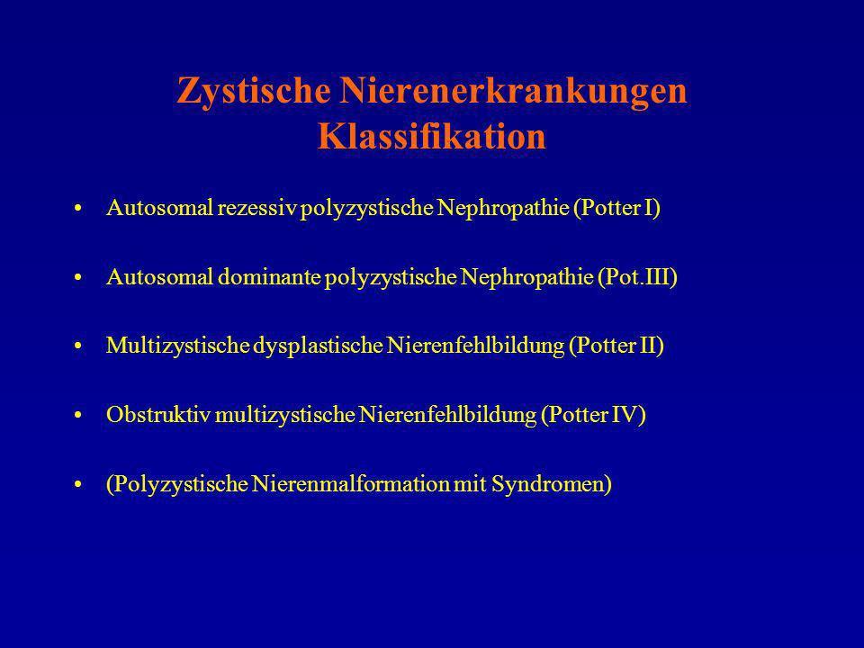 Zystische Nierenerkrankungen Klassifikation Autosomal rezessiv polyzystische Nephropathie (Potter I) Autosomal dominante polyzystische Nephropathie (P