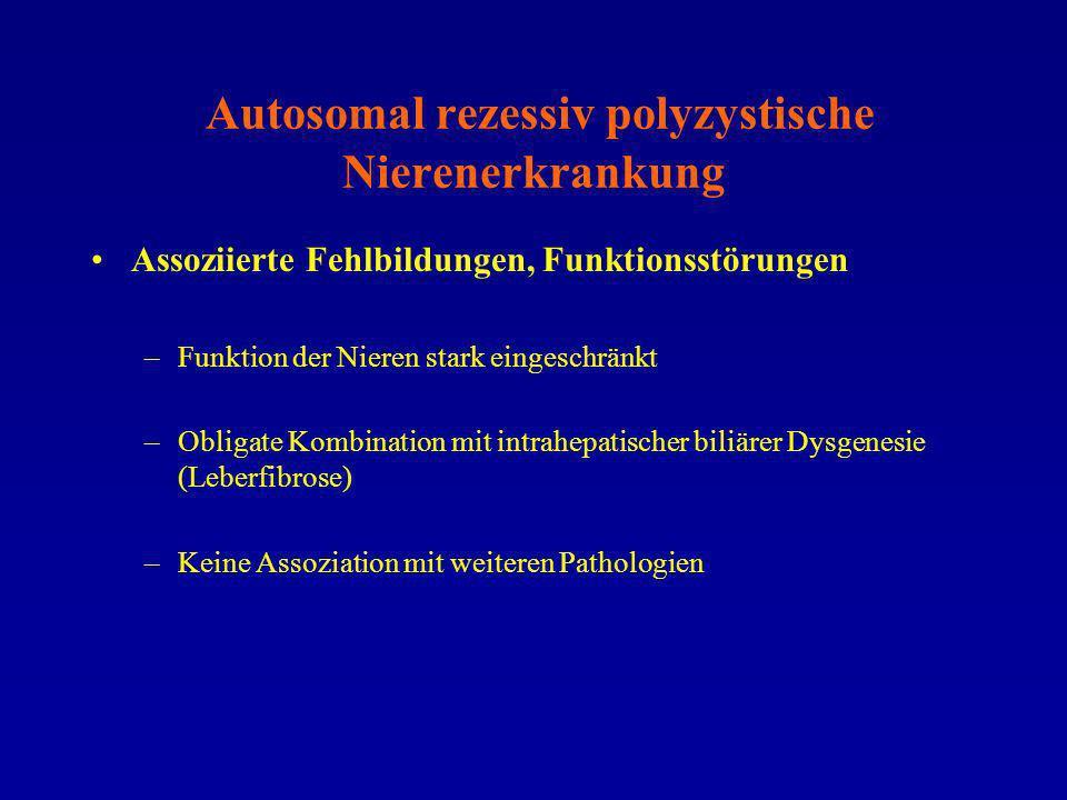 Autosomal rezessiv polyzystische Nierenerkrankung Assoziierte Fehlbildungen, Funktionsstörungen –Funktion der Nieren stark eingeschränkt –Obligate Kom
