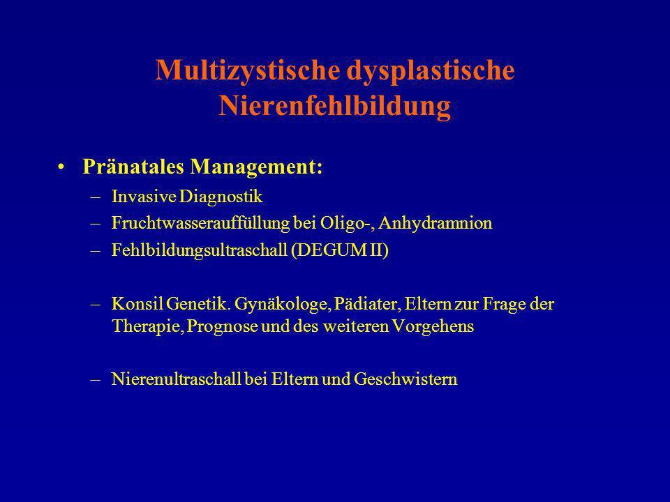 Multizystische dysplastische Nierenfehlbildung Pränatales Management: –Invasive Diagnostik –Fruchtwasserauffüllung bei Oligo-, Anhydramnion –Fehlbildu