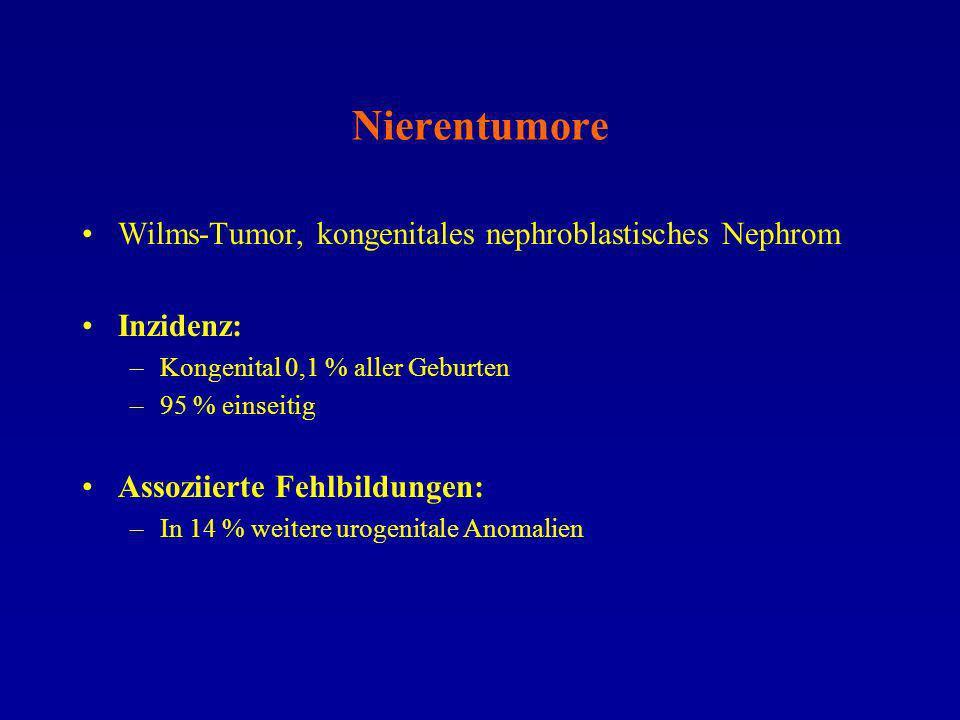 Nierentumore Wilms-Tumor, kongenitales nephroblastisches Nephrom Inzidenz: –Kongenital 0,1 % aller Geburten –95 % einseitig Assoziierte Fehlbildungen:
