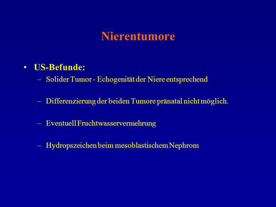 Nierentumore US-Befunde: –Solider Tumor - Echogenität der Niere entsprechend –Differenzierung der beiden Tumore pränatal nicht möglich. –Eventuell Fru