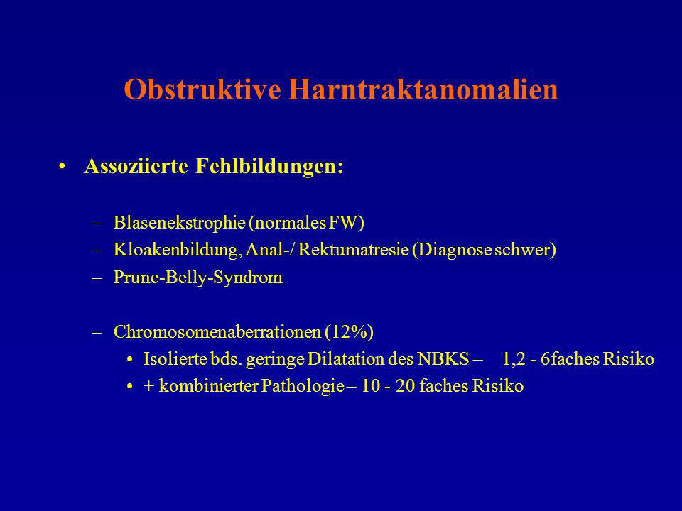 Obstruktive Harntraktanomalien Assoziierte Fehlbildungen: –Blasenekstrophie (normales FW) –Kloakenbildung, Anal-/ Rektumatresie (Diagnose schwer) –Pru